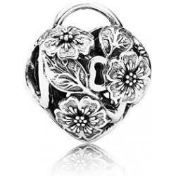 Abalorio openwork Candado de Corazón Floral ref. 791397